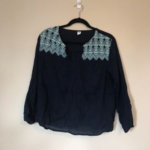 Navy Old Navy Embroidered Blouse